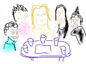 みんなでテーブルを囲んでるんだけど・・・。