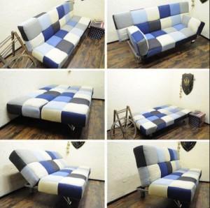 デニムパッチワークソファベッド